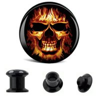 Wholesale skulls gauges for sale - Group buy Ear Gauge Plugs Skull Fire Acrylic Screw Fit Flesh Tunnel Eyelet Body Piercing Jewelry mm mm AW40324