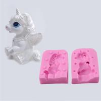 sabun kalıp düğün toptan satış-1 Takım 3D Unicorn Şekil Silikon Kalıp Sabun Fondan Çikolata Kalıpları Şeker Kek Kalıpları Kabartma Pişirme Kalıpları DIY Düğün Dekora ...