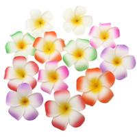 pinzas de pelo de la flor del plumeria de espuma al por mayor-Venta al por mayor 3.5 pulgadas hawaiano plumeria flor pelo clip espuma accesorio para el cabello decoración 12 unids / lote envío gratis