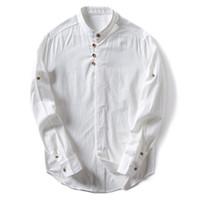 traditionelle tuchstile großhandel-Mens Baumwolle Leinen Shirts Langarm Chinesischen Stil Stehkragen Traditionelle Kung Fu Tang Social Dress Shirt Männlichen Tuch TS-298