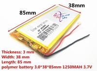 ingrosso dimensioni della tavoletta-Formato di vendita caldo 303885 3.7 V 1250 mah tablet battery Con Protection Board per GPS Tablet PC Prodotti digitali MP3 MP4 MP5 batteria