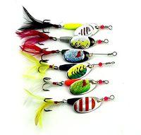 señuelos duros para la pesca baja al por mayor-LENPABY 6 unids spinnerbaits kit de hilandero de metal duro truchas lubina señuelos de pesca wobbler aparejos de pesca