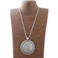 старинная длинная цепь оптовых-Large Antique Silver Abstract Metal Boho Round Flower Pendant on Long Chain Necklace Lagenlook 34