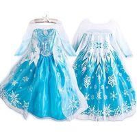 disfraz de reina al por mayor-Frozen Dress Girls Disfraces de Halloween para niños Snow Queen Cosplay Princess Fantasia Vestido Infantils Halloween Long Sleeve