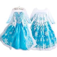 kraliçe kız kostümü toptan satış-Çocuklar için dondurulmuş Elbise Kız Cadılar Bayramı Kostümleri Kar Kraliçe Cosplay Prenses Fantasia Vestido Infantils Cadılar Bayramı Uzun Kollu