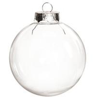 nahtloses silbernes großhandel-Promotion - DIY überstreichbar / Bruchsicher Klar Weihnachtsdekoration, 80mm Nahtlose Silber Kappe Kunststoff Ball, 10 / Pack