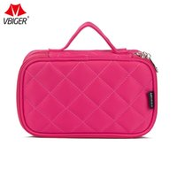 Wholesale double zipper makeup bag for sale - Group buy Vbiger Multi functional Makeup Bag Cosmetic Case Beauty Toiletry Bag Storage Box with Smooth Zippers and Double Layers Design