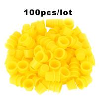 maquillage permanent jaune achat en gros de-100pcs tasses d'encre de tatouage en plastique jaune bleu moyen pour maquillage permanent de tatouage