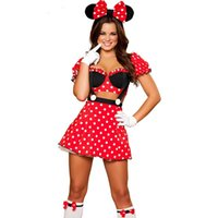 Wholesale dot cosplay online - Hot High Quality Halloween Cartoon Mini Mouse Cosplay Red Costume Polka Dot Bodycon Dress Halloween Dress Set Cosplay Clothing