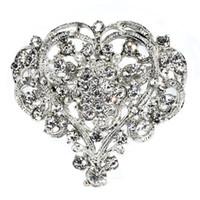 pernos de las broches del diamante artificial de la forma del corazón al por mayor-Hot Cute Heart Shape Lady Girl Rhinestone Broche Tamaño enorme Fiesta de bodas Broche Pin Mujer Joyería Regalo de Navidad Belleza