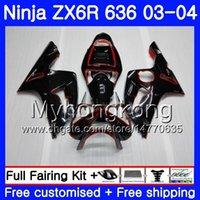 ingrosso corredo per 636-Corpo per KAWASAKI NINJA ZX-636 ZX600 ZX636 ZX-6R 03 04 211HM.0 ZX 636 6 R 600CC ZX6R 03 04 ZX 6R 2003 2004 Kit di carenature Gloss black red line