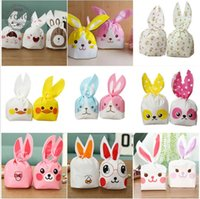 Wholesale Party Food Boxes - Easter Bunny Gift BagWedding Cake Box Cute Plastic Bag Gift Bag Rabbit Ear Biscuit Candy Bags for Party Food Cookie Packaging 13.5*22cm