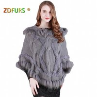 1b0d3a2c5 ZDFURS * Spring Autumn Rabbit Fur Cape Knitted Fur Poncho with Raccoon Fur  Trimming Women's Sweatercoat ZDKR-165009