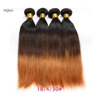 tonlar ombre saç 27 toptan satış-4 Adet Perulu Ipeksi Düz Ombre Saç Demetleri Üç Ton # 1B / # 4 / # 27 12-30 inç Bakire Remy İnsan Saç Ücretsiz Nakliye Örgüleri