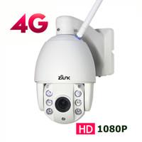 cctv zoom câmeras ao ar livre venda por atacado-Cartão SIM ZILNK 3G 4G PTZ Outdoor Dome IP Câmera 1080P 2.7-13.5mm Auto Zoom Night Vision 60m CCTV Segurança sem fio WIFI Camera