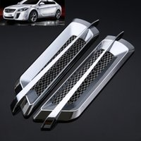 pára-choque de ventilação lateral venda por atacado-2 Pcs 22 * 6.2 cm ABS Universal Car Chrome Lado Ventilação de Fluxo de Ar Decoração Fender Adesivos de Prata Auto-adesivo Auto Styling Novo