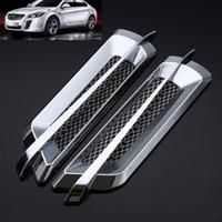 decoración de flujo de aire al por mayor-2 Unids 22 * 6.2 cm ABS Universal Car Chrome Side Air Flow Vent Fender Decoración Pegatinas Autoadhesivo de Plata Auto Estilo Nuevo