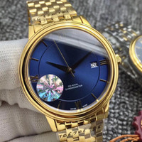 Wholesale stainles steel for sale - Luxury Brand New Gold VILLE Blue Dial Gold Bezel Dial Swiss Automatic Mechanical Mens Sport Watch Stainles Steel Strap