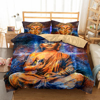 Wholesale purple quilt king - 3D Big Buddha Pattern Printed Bedding Sets All Sizes Pillow Case Quilt Cover Bed Sheets Duvet Cover