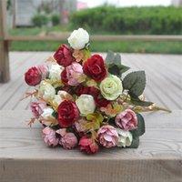 ingrosso diamante fiore artificiale-Fiore artificiale Autumn Edition Diamond Rose Simulazione Fiori Decorazione Bellezza Fotografia Prop Wedding Decor Creativo Colorato 3 5TH gg
