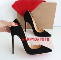 özgür kadın topuklu ayakkabı toptan satış-Ücretsiz kargo moda kadın ayakkabı Siyah süet Noktası toe İnce topuklu Yüksek Topuklu Kadınlar Için Stilettos Ayakkabı Pompalar 120mm