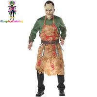 disfraz de zombie hombre al por mayor-Disfraces de Halloween Zombie para adultos Hombres, Terror Disfraz de Carnicero sangriento Carnaval Ropa de chef hombre