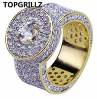 ingrosso gioielli in pietra di zircone-TOPGRILLZ oro colore tutto ghiacciato grande pietra micro pavimenta zircone cubico anello 7 8 9 10 11 cinque dimensioni anelli gioielli hip hop per maschio