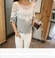 Wholesale women shawl shirt for sale - Group buy New Fashion Women Lace Blouse Shirt Ladies Casual Summer Tops Hollow Crochet Shawl Collar Sheer Blouses Black Plus Size M XL