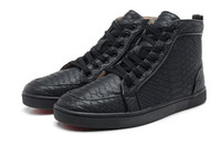 Wholesale Brand Comfort Shoes - Snakeskin Red Bottom Sneakers Luxury Designer High Top Skate Sneakers Mens Womens Casual Shoes Brand New Comfort Wholesale Price 36-46