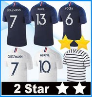 Wholesale star t - 2 stars Mbappe Soccer jerseys POGBA GRIEZMANN PAYET KANTE Football t shirts 2018 19 world cup Champion Maillot de foot