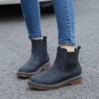 Wholesale wholesale woman boots - Wholesale 3 colors outdoor female martin boots waterproof shoes women pu leather oxford martin shoes sewing solid flat ankle boots