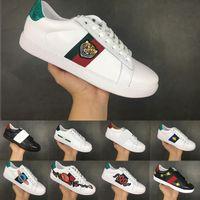 erkekler için daire toptan satış-Ace Lüks Dantel-up Koşu Ayakkabıları Düz Rahat Ayakkabı Erkekler Kadınlar için Tasarımcı Sneakers Beyaz Kaplan kafası Hakiki Deri Arı Işlemeli 36-44