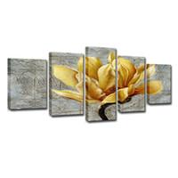 panneau d'art mural d'or achat en gros de-5 Panneau Photos Toile Peinture Or Orchidée Fleur Peinture Murale Art Décoratif Toile Mur Art Image (Sans Cadre)