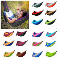 Wholesale lightweight hammock - Double Portable Lightweight 2 Person Parachute Hammock With Nylon Rope Hammocks For Hiking Travel Backpack DDA314
