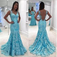 Wholesale trumpet shaped prom dresses - Elegant Lace Mermaid Evening Prom Dresses 2018 Full Appliques Long Formal Party Party Dresses With V-shaped Backless