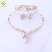 Wholesale Dress Jade Color - whole saleJewelry Sets For Women Fine Crystal Choker Necklace Set African Beads Earrings Gold Color Wedding Dress Accessories