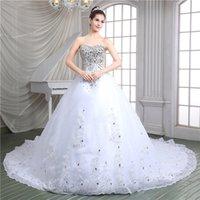 bling tül gelinlik toptan satış-Bling Kristalleri Ile yeni Zarif Elbiseler Sevgiliye Abiye Kat Uzunluk Kadınlar Için Tül Uzun Düğün Gelin Elbiseler Gelinlik