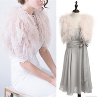 wrap jacket robes de soirée achat en gros de-100% autruche plume BRIDAL BOLERO veste de fourrure pour dame femmes robe de soirée robe de mariée demoiselle d'honneur enveloppe de fourrure châles sur mesure