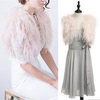 damas de honor vestidos de plumas al por mayor-100% pluma de avestruz BOLERO NOVIA chaqueta de piel para dama vestido de noche vestido de novia de dama de honor chales de piel por encargo