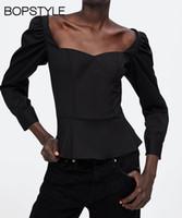cuello alto con cremallera al por mayor-El más nuevo otoño 2018 mujeres negro cariño blusa Top con mangas de soplo largo Side Zip sujetado - Ladies Peplum blusa camisa