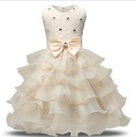 kış düğün toptan satış-2018 Moda Kızlar Düğün Prenses Elbise Kış Örgün Elbise Balo Çiçek Çocuk Giyim Çocuk Giyim Parti Kız Elbise