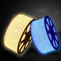 wasserdichte lila led-lichtstreifen großhandel-SMD 5050 Led Strip Flexibles Licht 5m Power Pug 60 Leds 4.8W / m Wasserdichte Led Strips Rot / Gelb / Blau / Grün / Lila Strip