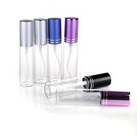 bouteilles atomiseuses pour parfum achat en gros de-MINI 5ML / 10ml métal vide verre parfum rechargeable bouteille bouteille vaporisateur atomiseurs bouteilles DHL / EMS / Fedex livraison gratuite 10 couleurs