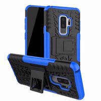 Wholesale white hard stand case cover online - New Shockproof Rubber Hard Armor Hybrid Rugged Case Protective Stand Cover Shell for Samsung Galaxy S9 Plus