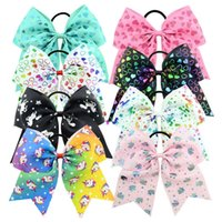 Wholesale heart cheer - 24Pcs 8 Inch Unicorn Heart Print Colorful Cheer Bows Ponytail Hair Bow With Elastic Band Girls Rubber Hair Band Beautiful HuiLin C165