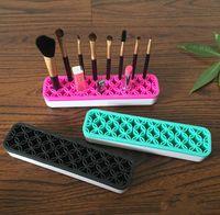 kozmetik makyaj deposu toptan satış-Silikon Makyaj Fırça Organizatör Saklama Kutusu Ruj Diş Fırçası Kalem Kozmetik Fırça Tutucu Standı Çok Fonksiyonlu Makyaj Aracı