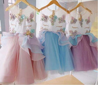 Wholesale Embroidered Tutu - Pre-ordering Unicorn girl dress   Embroidery flower   botique dress   pink  Aqua  Purple