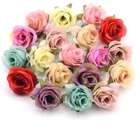 bola de rosa artificial do casamento venda por atacado-New Design 100 Pcs Silk Decoração Rose Artificial Flor Cabeça de Scrapbooking Flores Bola Wedding Scrapbooking grinalda Início Acessórios