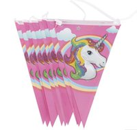 Wholesale unicorn party supplies for sale - Party Supplies for Kids Unicorn Banner Cartoon Flag Party Decorations Baby Happy Birthday Wedding Event
