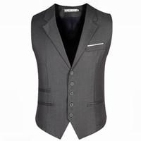 Wholesale Trendy Suits - Men's Trendy Business Dress Vest Suit Slim Fit Tuxedo Waistcoat Male Vest Jackets Plus Size 5XL 6XL